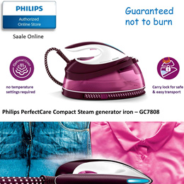 Philips PerfectCare Compact Steam Generator Iron - GC7808 (2 years warranty)  WITH FREE HANGERS SET