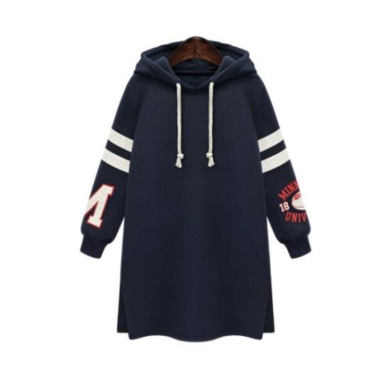 ペションプルDRS10217 Rugby Hood Slit Long Dress起毛裏地 綿ワンピース/ 韓国ファッション