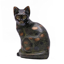 Aone India Tall Cat Figurine Handmade Brass Sculpture Animal Statue India Home Decor Gift + Cash Env