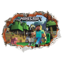 Minecraft Wall Stickers 3D Wallpapers Kids Room Decals Minecraft Steve Home Decoration Popular