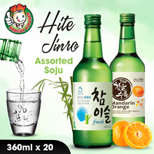 [HITE JINRO] 【Korean Alcohol Drink】Assorted Soju (360ml X 20) $9.50 Per Bottle