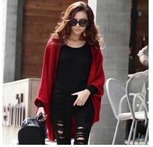 2015 Autumn coat large size womens knit cardigan sweater long section of loose bat shawl sweater coa