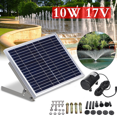 17V 10W Solar Powered Fountain Submersible Water Pump Pond Kit Power Garden  Panel 100-350L/H Flow
