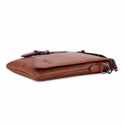 bc769568e46c VICUNA POLO Unique Buckle Design Irregular Cover Open Mens Messenger Bag 2  Sizes Business Men Crossb