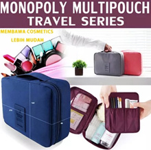 MONOPOLY Toiletries Multi Pouch Ver 2 Water-Resistant Organizer Bag | tas kosmetik make up shampoo sabun dan barang lainnya