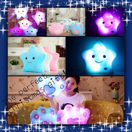JUBLIEE SALE Gifts NEW Popular Star/ Paw Shape Changing Light Up Glow LED Pillow Soft Cosy Relax Cushion Night Light Kids Love it Singapore Seller FAST Delivery