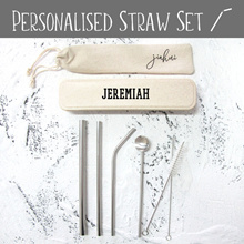 Personalised 6pc Reusable Drinking Straw and Brush Set / Stainless Steel Straw