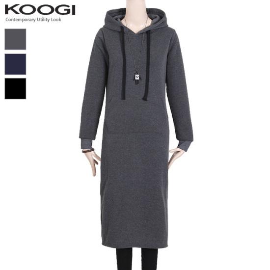 釘宮フードロング起毛ワンピースKK3OP325A 綿ワンピース/ 韓国ファッション