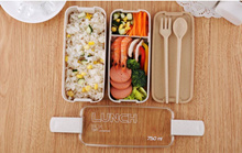 Japanese Microwave Lunch Box Eco-Friendly Wheat Straw Bento Box For Kids School  With Dinnerware set