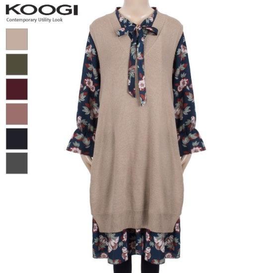 釘宮ニットベストワンピースKK3OP3127A 綿ワンピース/ 韓国ファッション