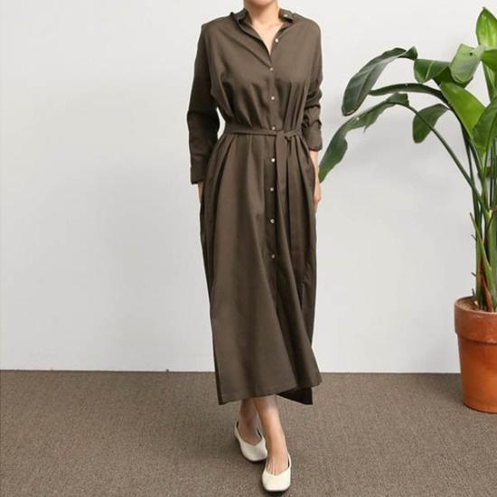 エンピオナヘンリー・シルクロングワンピース 綿ワンピース/ 韓国ファッション