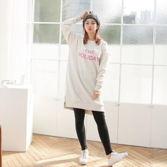 クルリクエンミセマネーム起毛ワンピース 綿ワンピース/ 韓国ファッション