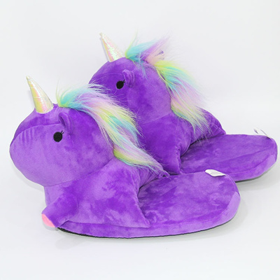 4f862707c08 Plush Unicorn Slippers Adult Women 2017 Girls Unisex Home Indoor Chausson  Licorne Shoes Bedroom Fluf