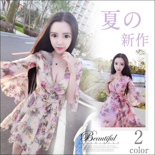 夏日新作レディースワンピース 花柄  Vネックドレス  韓国ファション フレアスリーブゆったりワンピース 体のラインが美しい セクシー 優良品質の材料 柔らかい 爽やかなカラーで清楚な雰囲気に