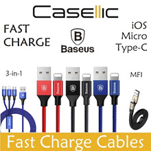Baseus Charging Cables / Micro USB / iPhone iOS Apple Lightning Type-C / 3.5A Samsung Xiaomi Huawei