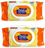 Pureen Baby Wipes Fragrance Free 2X100s X 4 sets (Free Shipping)