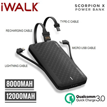 [Nett Price] iWalk Scorpion Ultra thin 8000 / 12000mAh Portable QC 3.0 Power Bank with Built-in Cabl