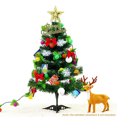 Artificial Christmas Tree With Lights.Diy 60cm Tabletop Christmas Tree Pvc Artificial Christmas Tree With Led Light Strip Star Topper Gift