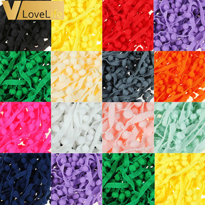 Lace Fabric 10 yard 1cm Sewing Accessories Pompom Trim Pom Pom Decoration  Tassel Ball Fringe Ribbon 75af76b03e6d