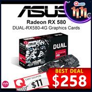 ASUS Dual Series Radeon RX580 OC Edition Best eSports【4GB GDDR5 4K Gaming】1380 MHz Boost Clock in OC mode, IP5X-Certified Fans, GPU Tweak II with Xsplit Gamecaster. 3 Years Warranty