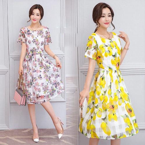 女性のファッションスリム王女のドレスのプリントドレスの長いセクション女性の流入の2017夏の新しい韓国語版/韓国ファッション/ワンピース/花柄ワンピース/Vネックワンピース