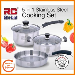 RC-Global Value Set Non-Stick Stainless Steel Frying Pan Cooking Wok Soup Pot Sieve Bowl