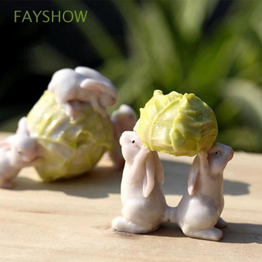 [S$10.50]DIY Craft Garden Ornaments Animal Statue Bonsai Decoration Mini Resin Rabbits