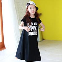 Girls Kids Clothing Dresses Baby Black Cotton  short sleeve Brief Casual Loose Dress Summer Girls 4-
