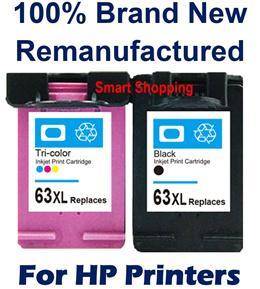 INK 63 XL Black Color For HP Printers Remanufactured Compatible Cartridges Envy 4520 3630 2130 Etc