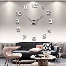 Cool DIY Large Wall Clock 3D Mirror Surface Sticker Home Office Decor