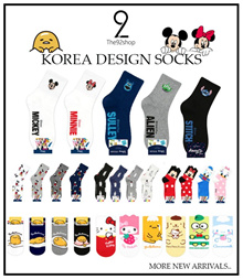 QOO10 BEST SELLING!* ★ADULT/BASIC Buy6+1Free★양말T92 KoreanDesignSocks Women/Men/Basic DISNEY/SANRIO