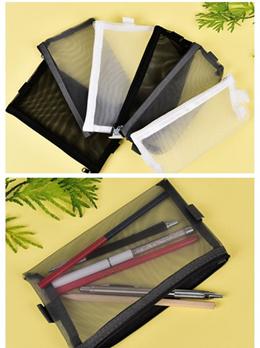 Clear Exam Pencil Case S/L Transparent Simple Mesh Zipper Stationery Bag School