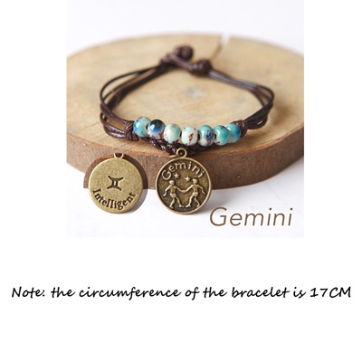 URUHR Women Girls Horoscope Zodiac 12 Constellation Astrology Ceramic Beads with Constellation Pattern Pendant Charm Bracelets