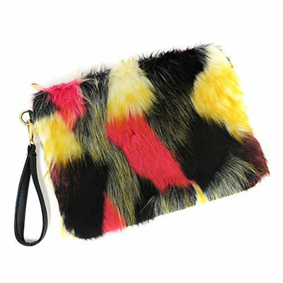 ab28dfd37539 Qoo10 - Women s Faux Fur Fluffy Square Clutch Shoulder Bag   Bag ...