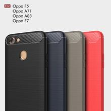 Oppo F7 F5 A71 A71K A83 Carbon Fiber Brushed TPU Silicone Soft Case Cover Casing