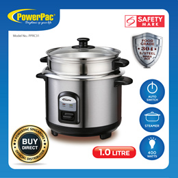 PowerPac Rice Cooker 1.0L with Stainless Steel Inner Pot Food Steamer (PPRC31)