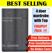 ★4 Door / 8 Door / 10 Door Wardrobe With Top★Storage Cupboard Cabinet Drawer ★Furniture Warehouse★
