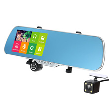 5 Android 4.4 Smart GPS Navigation Car Rearview Mirror DVR With Rearview Camera