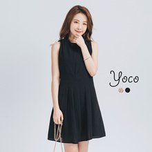 YOCO - Pleated Dress with Neck Tie-170674