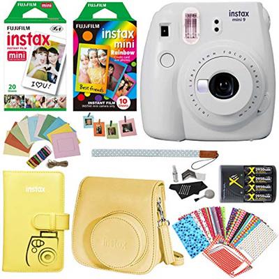 Ritz Camera Fujifilm Instax Mini 9 Instant Camera (Smokey White), Rainbow  Film Pack, Twin Pack Insta