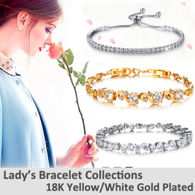 Everrich AAA Cubic Zirconia Stones Rose Gold Plated Tennis Bracelets Diamond Bangle Jewelry