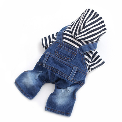1963fea0fd denim pet jumpsuit dog jeans hoodies blue red stripe cool overall small  medium dogs classic jacket