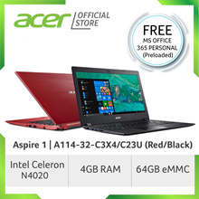 Acer Aspire 1 A114-32-C3X4/C23U (Red/Black) 14 Inches HD with Windows 10