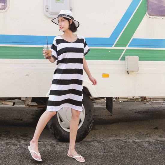 ジェイ・スタイルビックサイズ映ってきたストライプワンピース 綿ワンピース/ 韓国ファッション