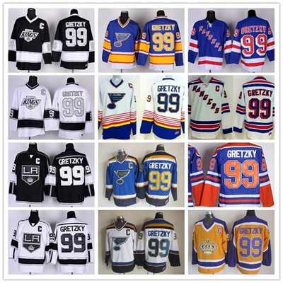 new styles f7b52 96764 New York Rangers 99 Wayne Gretzky Throwback Jerseys Hockey St. Louis Blues  LA Los Angeles Kings Vint
