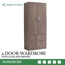 Classic 2 Door Wardrobe with Drawers and Lock | Simple Elegant Design for Easy Storage