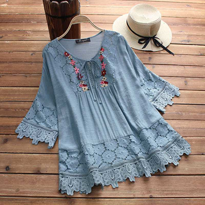 discount Women Lace Crochet Blouse 2019 Summer Tops Oversized Stylish  Embroidery Patchwork Lace Up S