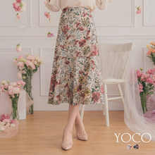 YOCO - Floral Print Fishtail Skirt-182009-Winter