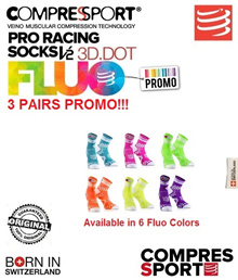 Compressport Pro Racing Fluo Socks 3 Pairs Promo V2. FREE SHIPPING!