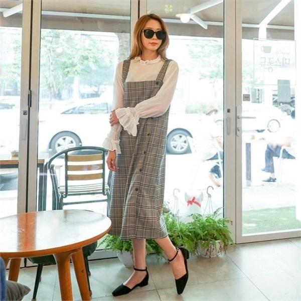 シーフォックスモドンイッチェックワンピース プリントワンピース/ワンピース/韓国ファッション